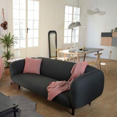 Canapé 3 places Moïra tissu gris foncé ENOstudio