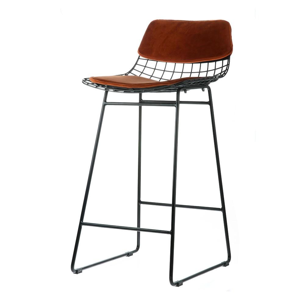 Wire Bar Stool Comfort Kit Velvet Terra Set Of 2 Hk Living