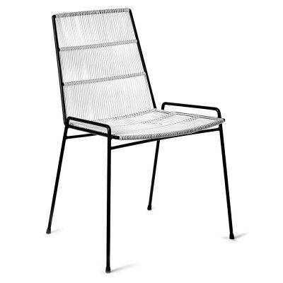 Chaise Abaco blanc & structure noire (lot de 2)