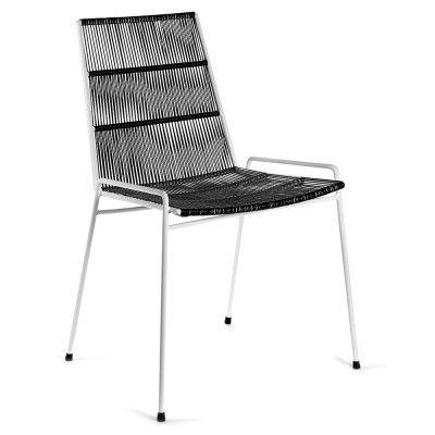 Chaise Abaco noir & structure blanche (lot de 2)