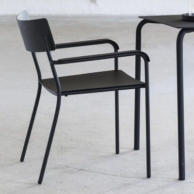 August dining chair black with armrests (set of 2)