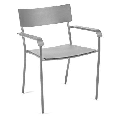 August dining chair grey with armrests (set of 2)