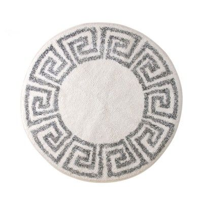 Greek key bath mat round 80cm