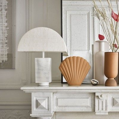 Ribbed table lampe white & marble