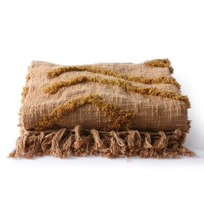 Cotton fringe pattern throw brown