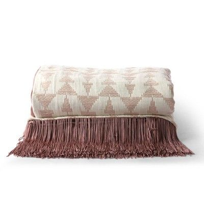 Jacquard weave throw white/nude
