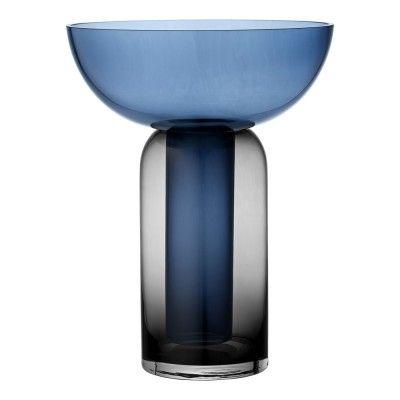Vase Torus noir & bleu Ø25 x 33cm AYTM