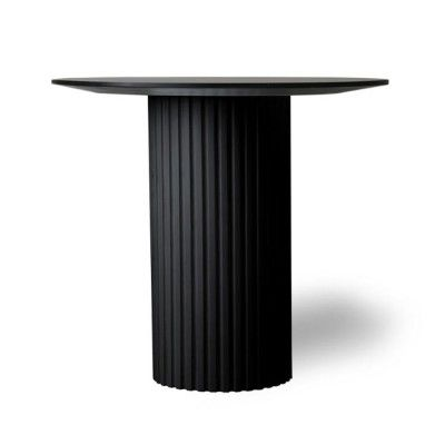 Pillar round side table black