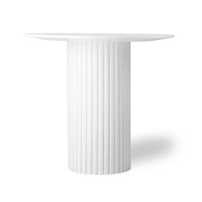 Pillar round side table white