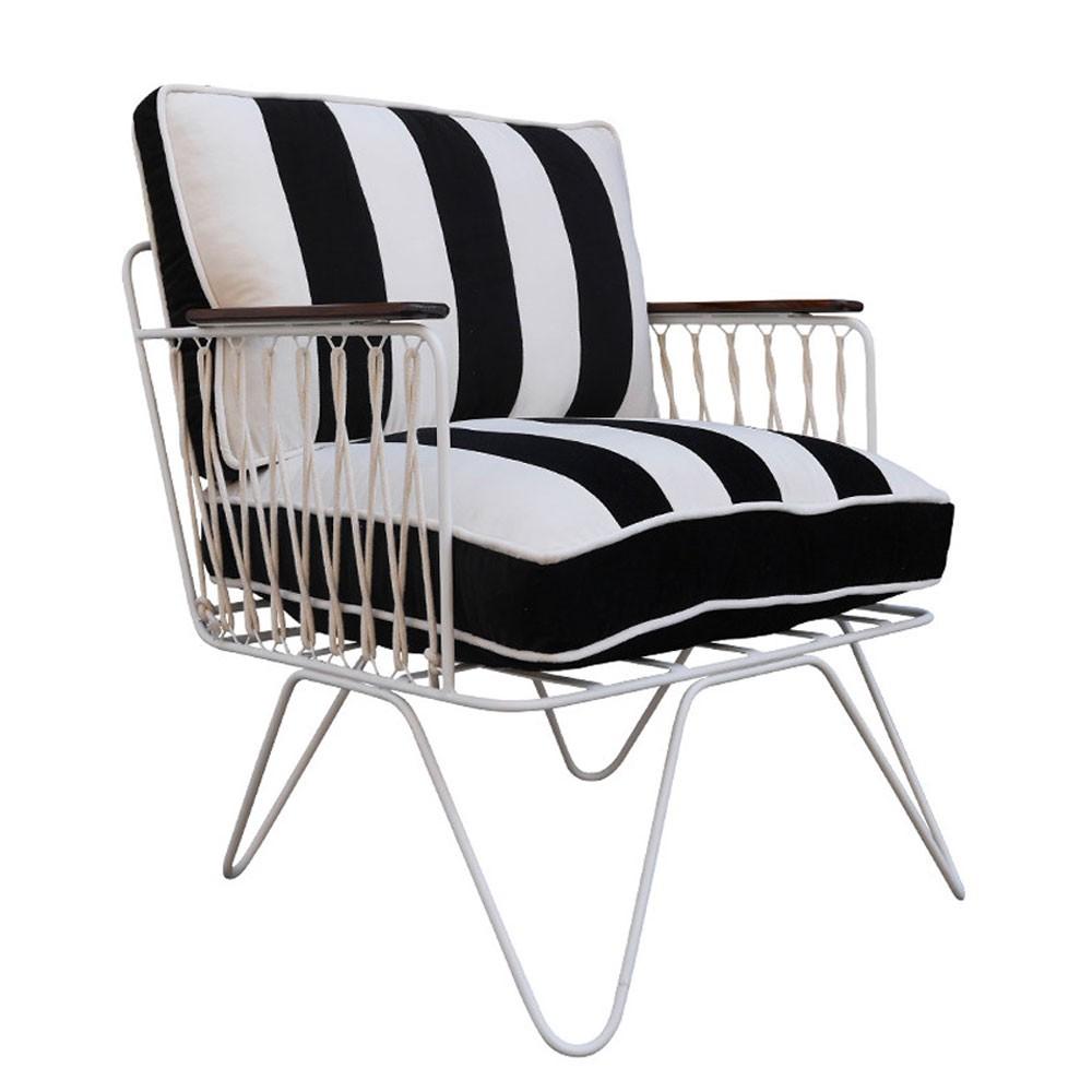Croisette armchair black & white striped velvet