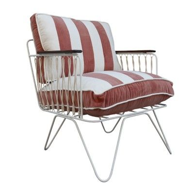 Croisette armchair petrol blue striped velvet Honoré