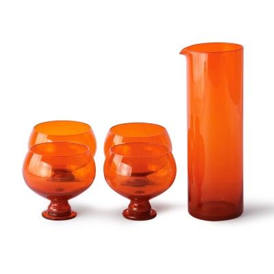 Set de verres et carafe funky orange HK Living