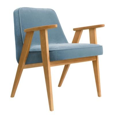 366 Velvet armchair sky blue