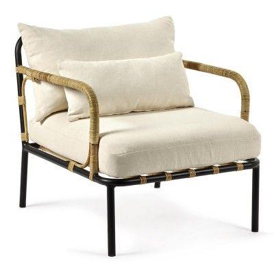 Fauteuil lounge Capizzi structure noire & coussin blanc Serax
