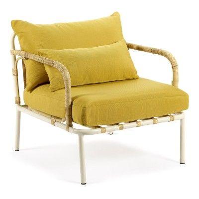 Fauteuil lounge Capizzi structure blanche & coussin jaune