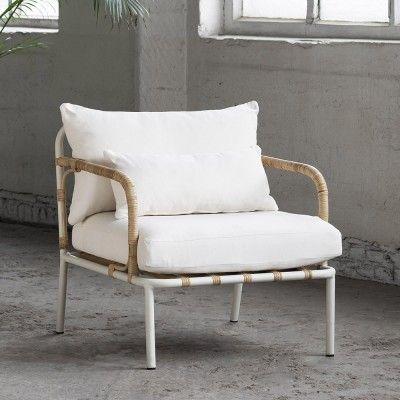 Fauteuil lounge Capizzi structure blanche & coussin blanc