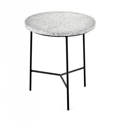 Table d'appoint noir & terrazzo gris Ø30 cm Serax