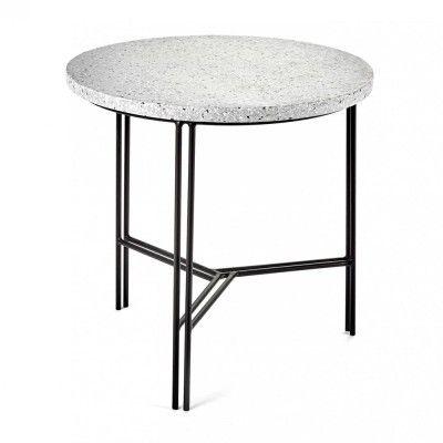Table d'appoint noir & terrazzo gris Ø40 cm Serax
