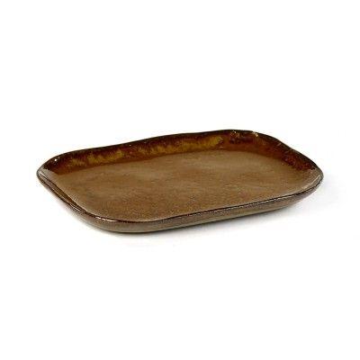 Rectangular plate Merci n°3 M ochre brown Serax