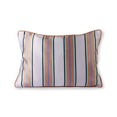 Coussin velours & satin orange/bleu 35 x 50 cm HK Living