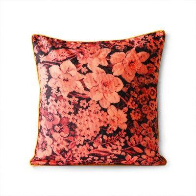 Coussin coloré imprimé floral corail & noir HK Living