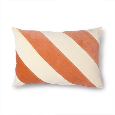 Striped cushion velvet peach/cream HK Living