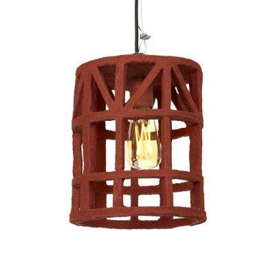 Hanging lamp paper mache red S Serax