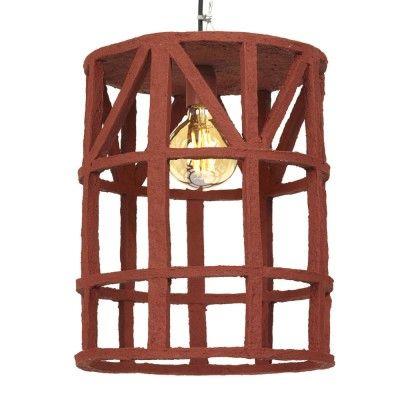 Hanging lamp paper mache red L Serax