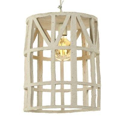 Hanging lamp paper mache beige L Serax