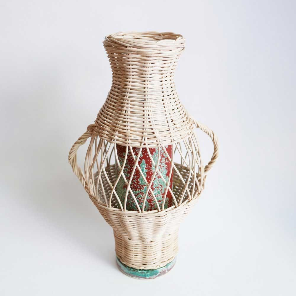 Rattan and Terracotta vase