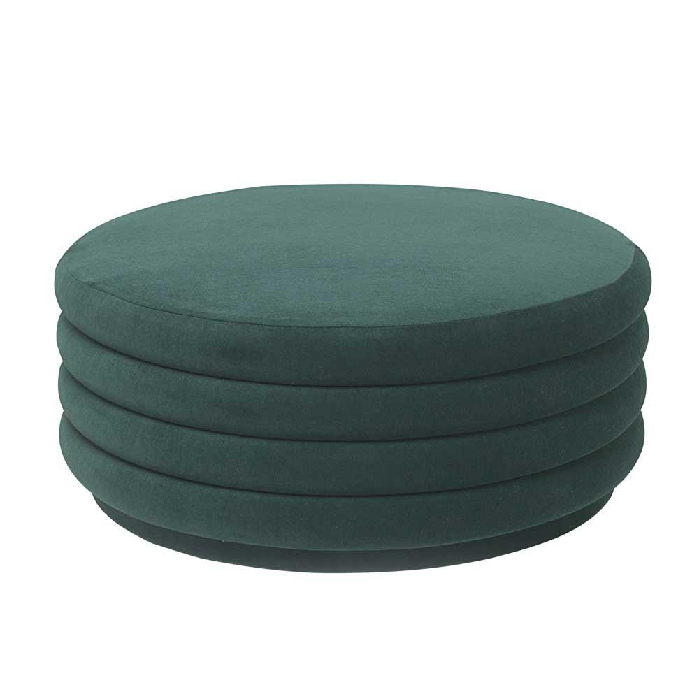 Round pouf L dark green