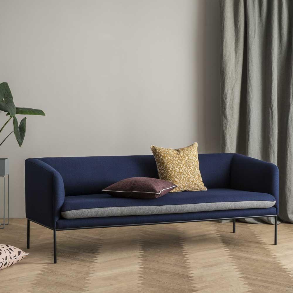 Turn wool sofa blue & light grey