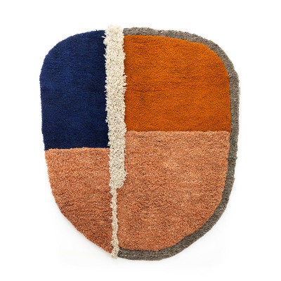 Nudo rug L blue/orange/ochre