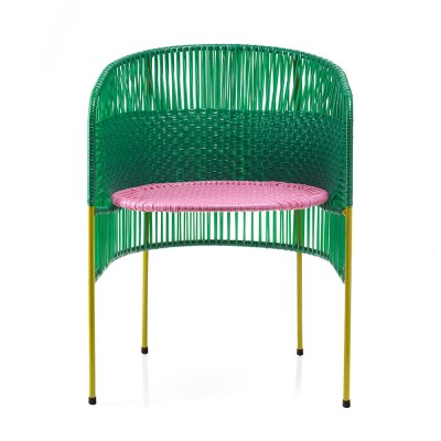 Chaise Caribe green/pink/curry