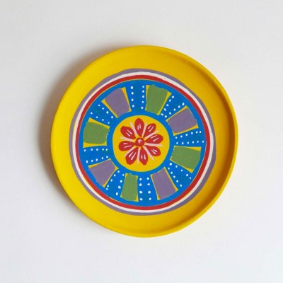 Small hand-painted wooden plate yellow Datcha
