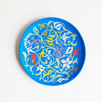 Small hand-painted wooden plate blue Datcha