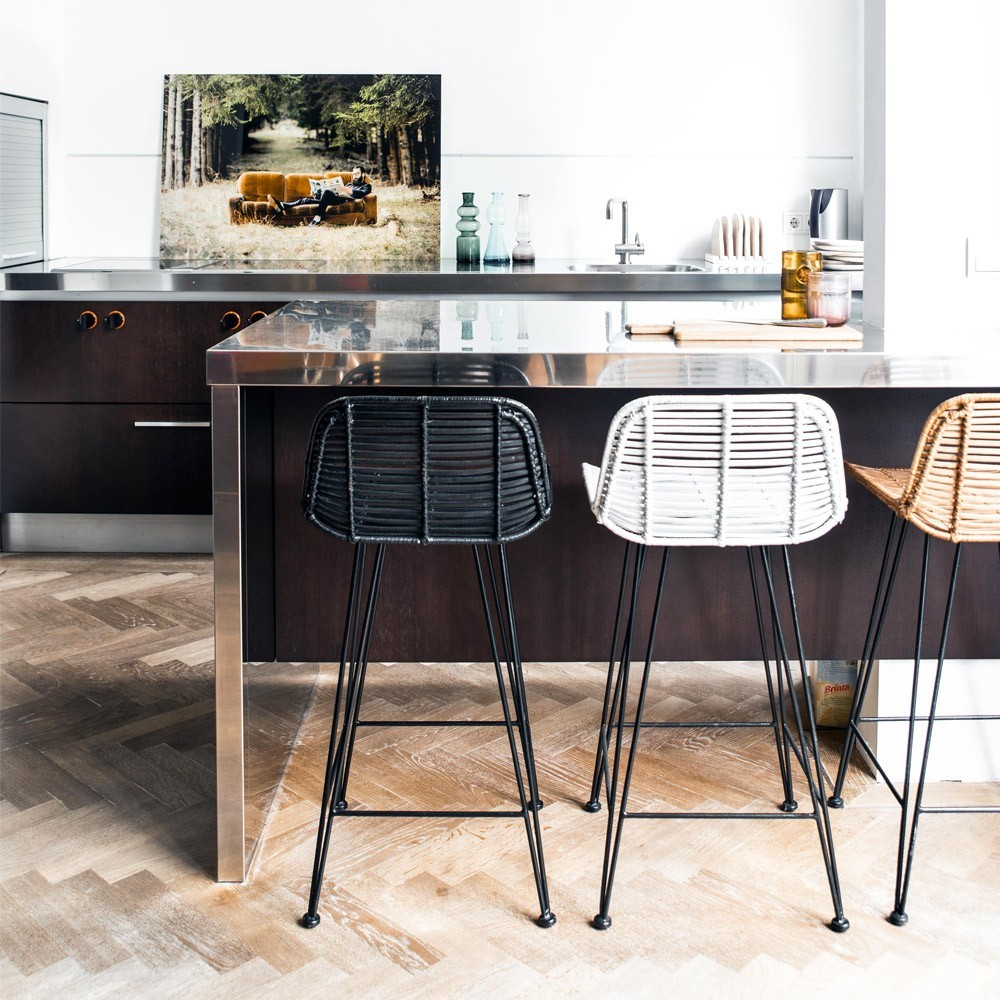 Peachy Rattan Bar Stool Black Hk Living Gmtry Best Dining Table And Chair Ideas Images Gmtryco