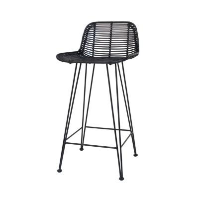 Rattan bar stool black HK Living