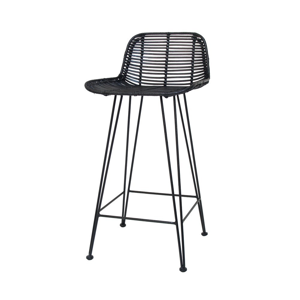 Exceptionnel Rattan Bar Stool Black ...