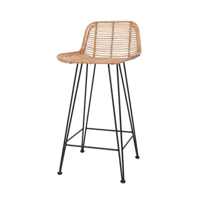 Rattan bar stool black HK Living