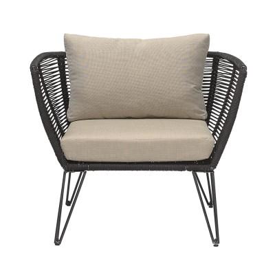 Rope armchair black & taupe Bloomingville