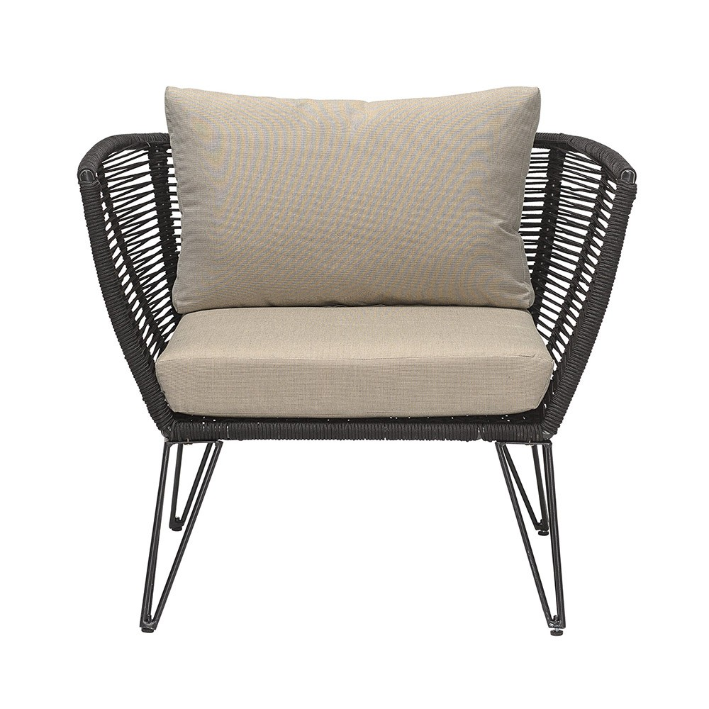 Rope armchair black & taupe