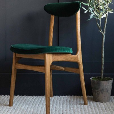Chaise 200-190 chêne Velours vert bouteille