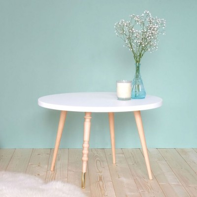 Table basse ronde My lovely ballerine blanc & hêtre Jungle by Jungle