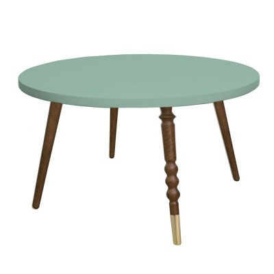 Table basse ronde My lovely ballerine vert céladon & noyer M Jungle by Jungle