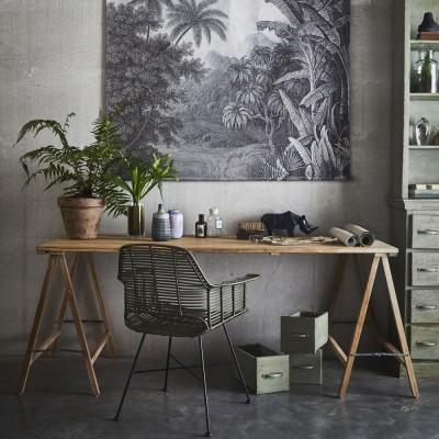 Table avec tréteaux en teck