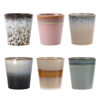 Ceramic 70's mugs (set of 6) HK Living