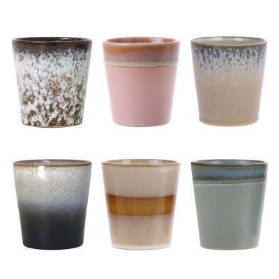 Mugs en céramique 70's (lot de 6) HK Living