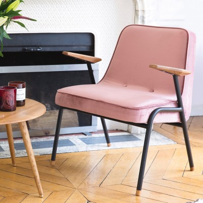 Fauteuil 366 Metal Velours rose